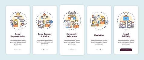 Rechtsdienstleistungskategorien Onboarding Mobile App Seitenbildschirm mit Konzepten vektor