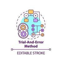 försök och fel metod koncept ikon vektor
