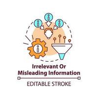irrelevant eller vilseledande ikon för informationskoncept vektor
