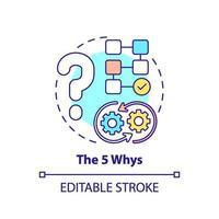 das 5-Warum-Konzept-Symbol vektor