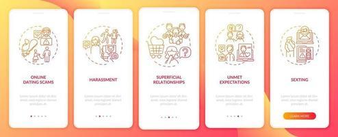 Online-Dating Belästigung Onboarding Mobile App Seite Bildschirm mit Konzepten.