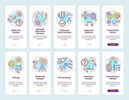 Problemlösung Onboarding Mobile App-Seitenbildschirm mit festgelegten Konzepten vektor