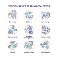 aktiemarknaden handel koncept ikoner set