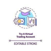 försöker konceptikonen för virtuellt handelskonto