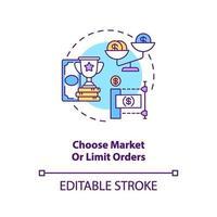 Auswahl des Konzeptsymbol für Markt- und Limitaufträge vektor