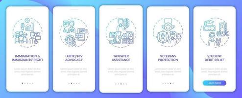 Rechtsberatungstypen Onboarding Mobile App-Seitenbildschirm mit Konzepten vektor