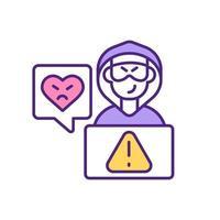 online dating webbplats hacker attack rgb färgikon.