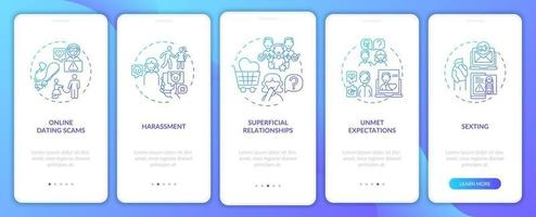 oberflächliche Beziehung Onboarding Mobile App Seitenbildschirm mit Konzepten.