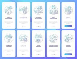 Plattform auswählen Onboarding Mobile App Seite Bildschirm mit Konzepten.