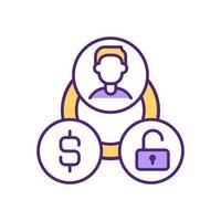 månatlig betalning för att aktivera användarkonto rgb färgikon.