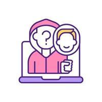 falsk användare på dating app rgb färgikon.