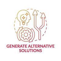 Generieren Sie alternative Lösungen. Rotes Farbverlaufskonzeptsymbol vektor