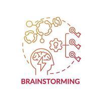 Brainstorming-Symbol für das rote Farbverlaufskonzept vektor