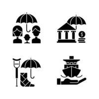 försäkring och skydd svart glyph ikoner som på vitt utrymme