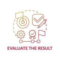utvärdera resultatet röd tonad koncept ikon vektor