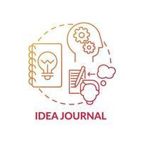 rotes Farbverlaufskonzeptsymbol des Ideenjournals