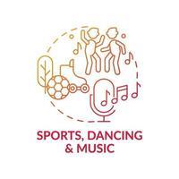 sport, dans och musik röd lutning koncept ikon vektor