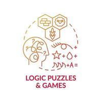 logische Rätsel und Spiele rotes Farbverlaufskonzeptsymbol vektor