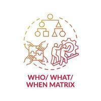 vem, vad, när matris röd lutning koncept ikon vektor
