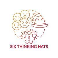 Sechs denkende Hüte rote Farbverlaufskonzeptikone