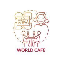 Weltcafé rote Farbverlaufskonzeptikone