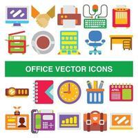 Bürovektorikonen im flachen Entwurfsstil. vektor