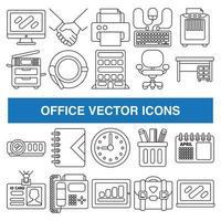 Bürovektorikonen im Entwurfsentwurfsstil. vektor
