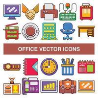 Bürovektorikonen im gefüllten Entwurfsentwurfsstil. vektor