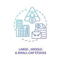 konceptikonen för stora, mellersta och små aktier vektor