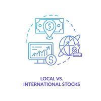 ikon för lokala kontra internationella aktier vektor