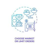 Auswahl des Konzeptsymbol für Markt- und Limitaufträge