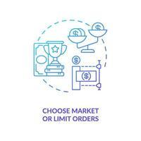 välja marknaden och begränsa order konceptikonen vektor