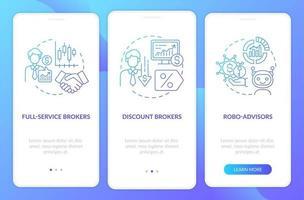 Händlertypen Onboarding Mobile App-Seitenbildschirm mit Konzepten