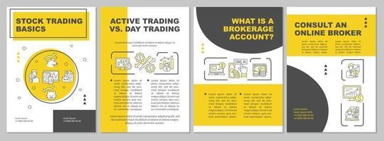 Aktienhandel Grundlagen Broschüre Vorlage vektor
