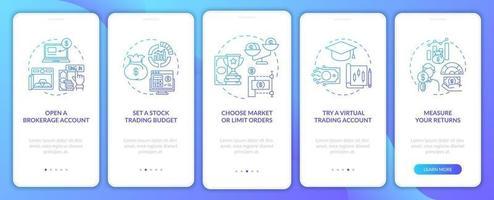 Investition in Aktienschritte Onboarding des Bildschirms der mobilen App-Seite mit Konzepten
