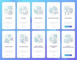 Börsenhandel Onboarding Mobile App Seite Bildschirm mit Konzepten festgelegt