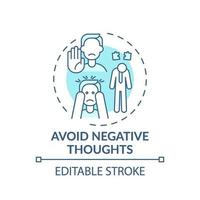 Vermeiden Sie negative Gedanken Türkis Konzept Symbol