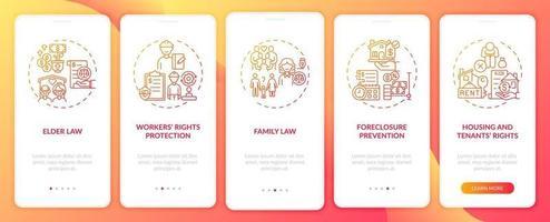 juridiska tjänster typer ombord mobilappsskärm med koncept