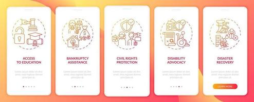 Rechtsberatungstypen Onboarding Mobile App-Seitenbildschirm mit Konzepten
