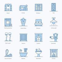 hem prydnad och interiör ikoner vektor
