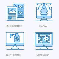 Symbole für Designressourcen und kreative Prozesse vektor