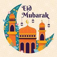 Eid Mubarak Blumenhintergrund vektor