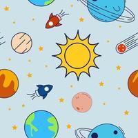 färgglada yttre rymden sömlösa mönster vektor