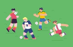 söt fotbollsspelare teckenuppsättning vektor