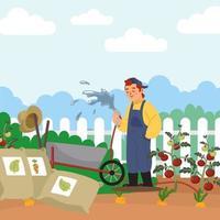 Gärtner gießt die Pflanzen vektor