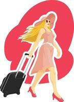 Frau, die touristische Urlaubsferienkarikaturillustrationszeichnung reist vektor