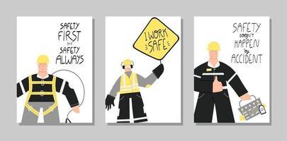 Sicherheit erste industrielle handgezeichnete Plakate gesetzt vektor