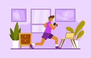 Fitnessstudio zu Hause Konzept vektor