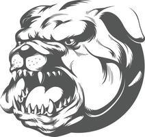 vild arg bulldog skällande, silhuett stencil vektor clipart ritning