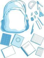 Schulbedarf Briefpapier Silhouette, Tasche, Buch Vektor Clipart Zeichnung